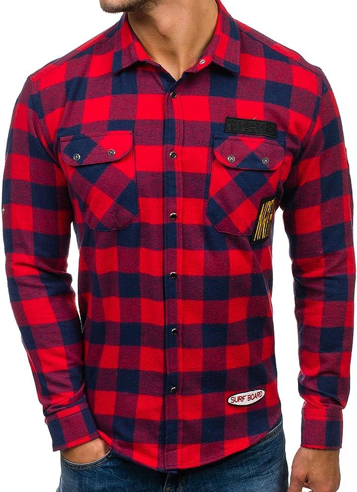 Bolf camicia a manica lunga per uomo, di flanella,70% cotone, 30% poliestere NORTHIST 2503