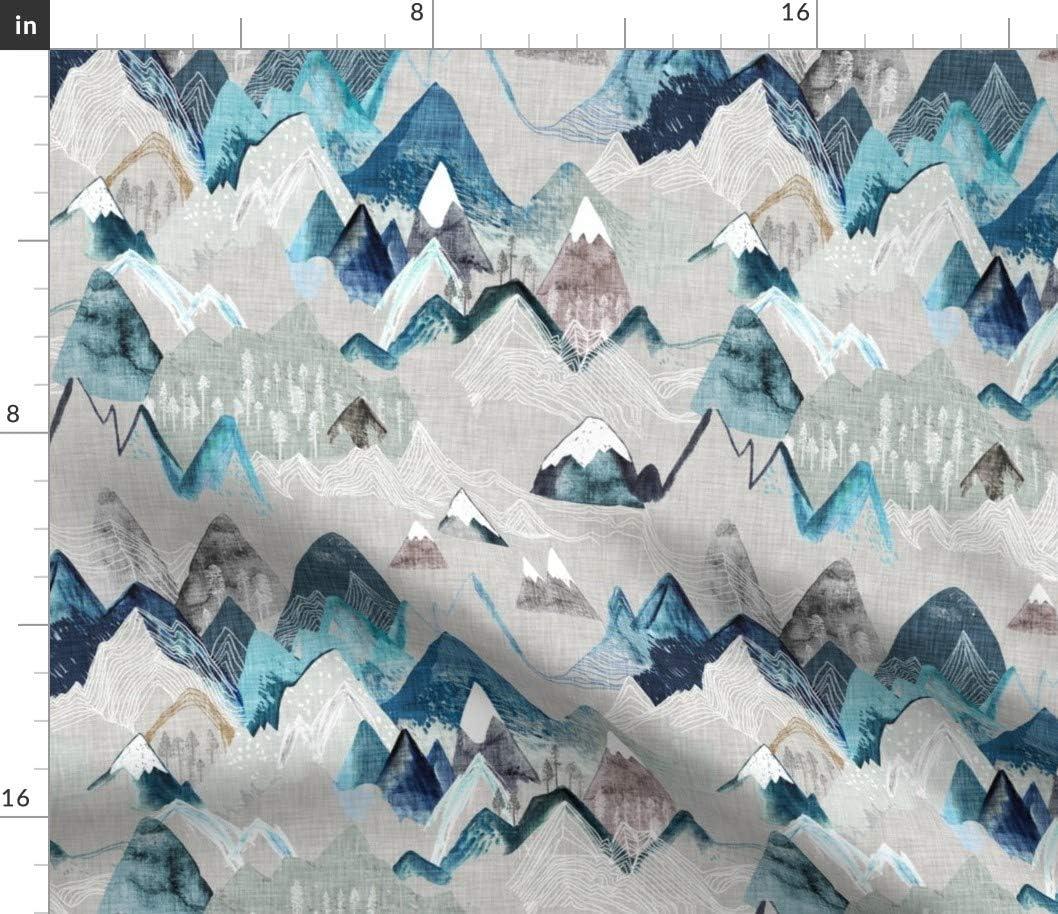 Spoonflower SALENEW very popular Fabric - Call Mountains Storm Adventure Max 48% OFF Mountain Awa