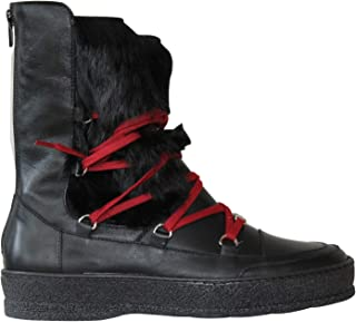Ammann-FALL SALE-Chamonix-Black Leather/Black Rabbit Fur -Euro 38 / US 7.5 MSRP $430.00