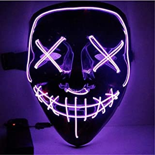 Moonideal Halloween Light Up Mask EL Wire Scary Mask for Halloween Festival Party Sound Induction Twinkling with Music Speed (Purple)