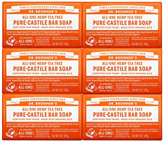 Dr. Bronner's - Pure-Castile Bar Soap (Tea Tree, 5 oz, 6-Pack) - Made with Organic Oils, For Face, Body, Hair and Dandruf...