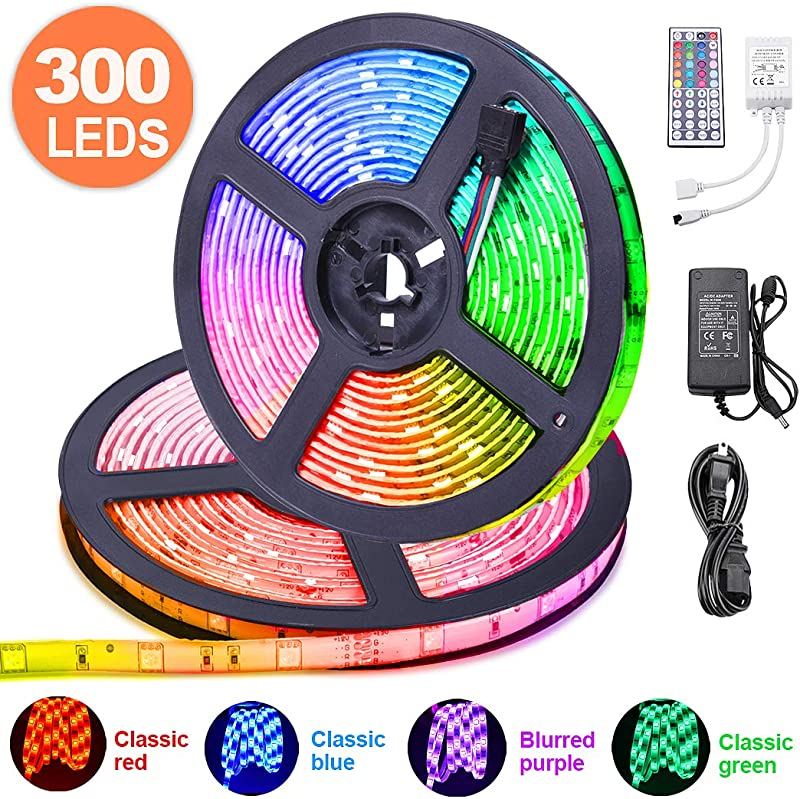 LED Strip Lights 32 8 Ft ESEYE IP65 Waterproof Flexible RGB Tape Lights Self Adhesive Multicolor 12V 5A 5050 300LEDs Neon Mood Ribbon Light Kit For Room Kitchen TV Festival Illumination With Remote