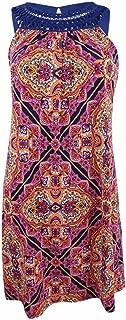 Women's Printed Crochet Trim Sleeveless Mini Dress