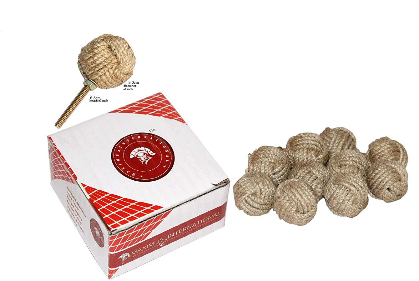 Maximus International's Jute Rope Door Knobs/Rope Knot Drawer Pulls and Knobs/Pull and Push Handle Knobs for Cabinets, Wardrobes & Cupboards/Nautical Hardware Decor, 35 mm
