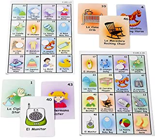 Loteria Baby Shower Party Bingo Game in English and Spanish for up to 10 Players