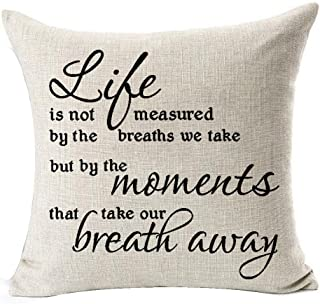 Best Gifts Funny Nordic Black Warm Sweet Inspirational Sayings Life Is Not Measured By The Breaths We Take Cotton Linen Th...