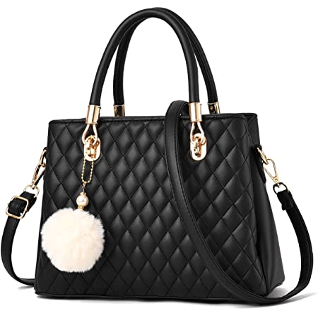I IHAYNER Womens Leather Handbags Purses Top-handle Totes Satchel Shoulder Bag for Ladies with Pompon