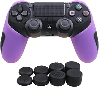 YoRHa Silicone Half extra Thick Cover Skin Case for Sony PS4/slim/Pro controller x 1(purple) With Pro thumb grips x 8