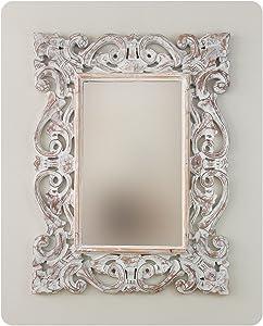 Rococo Espejo Decorativo de Madera Tanduk de 60x80cm en Blanco decapado