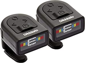 D'Addario NS Micro Clip-On Tuner, 2-Pack– Highly Precise, Easy to Read, Clip-On Tuner for Guitar, Mandolin, Bass and More –Wide Calibration Range and Metronome –Compact Low-Profile Design