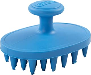 Dexas BrushBuster Silicone Gentle Dog Grooming and Massage Brush, Pro Blue