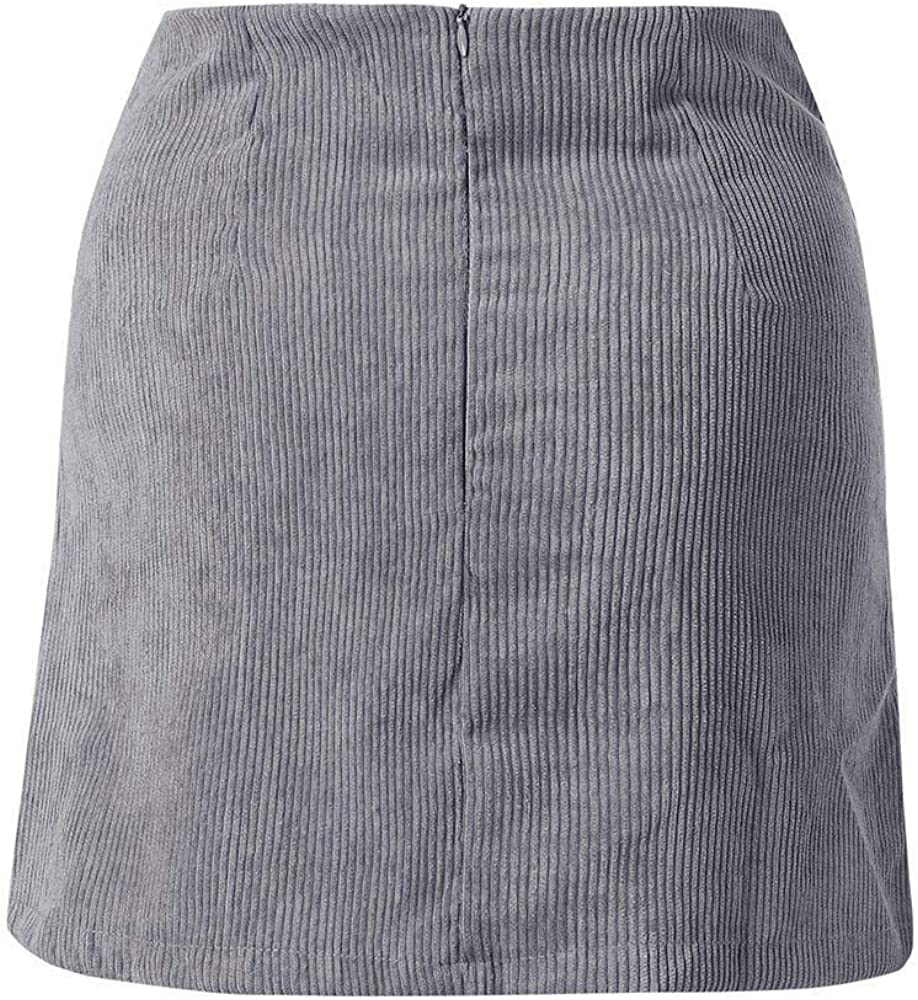 Xmiral Damen Herbst Rock Mini Leder High Waist Eng Mit Rock Short Skater Skirt Grau