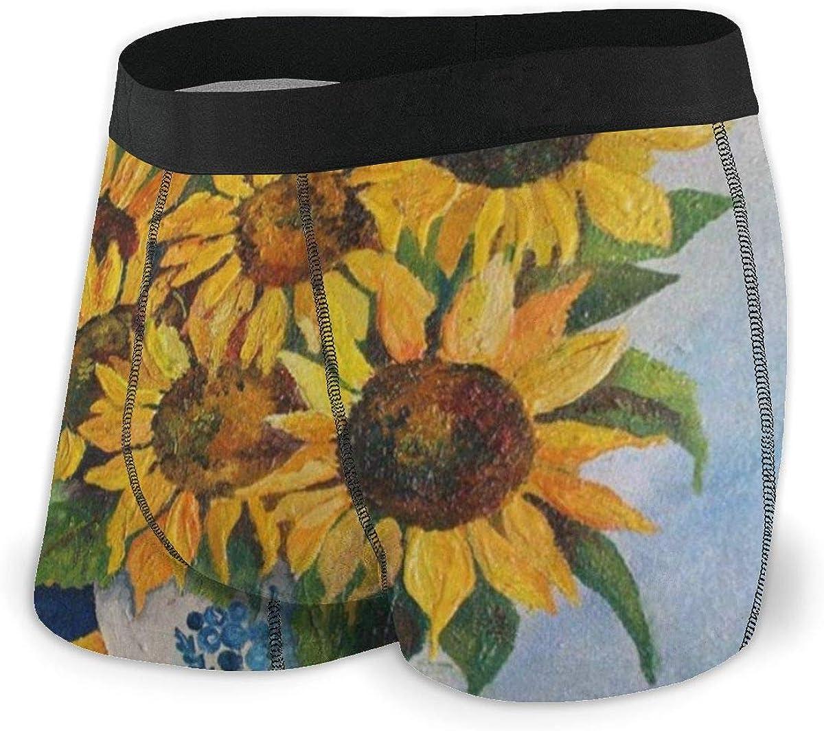 Mens Boxer Briefs Summer Sunflower Art Painting Breathable Underwear