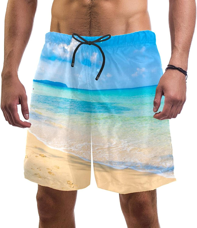 AISSO Beach Sky Blue Swim Shorts for Men Swim Trunks Men's Bathing Suits Swimwear with Mesh Lining