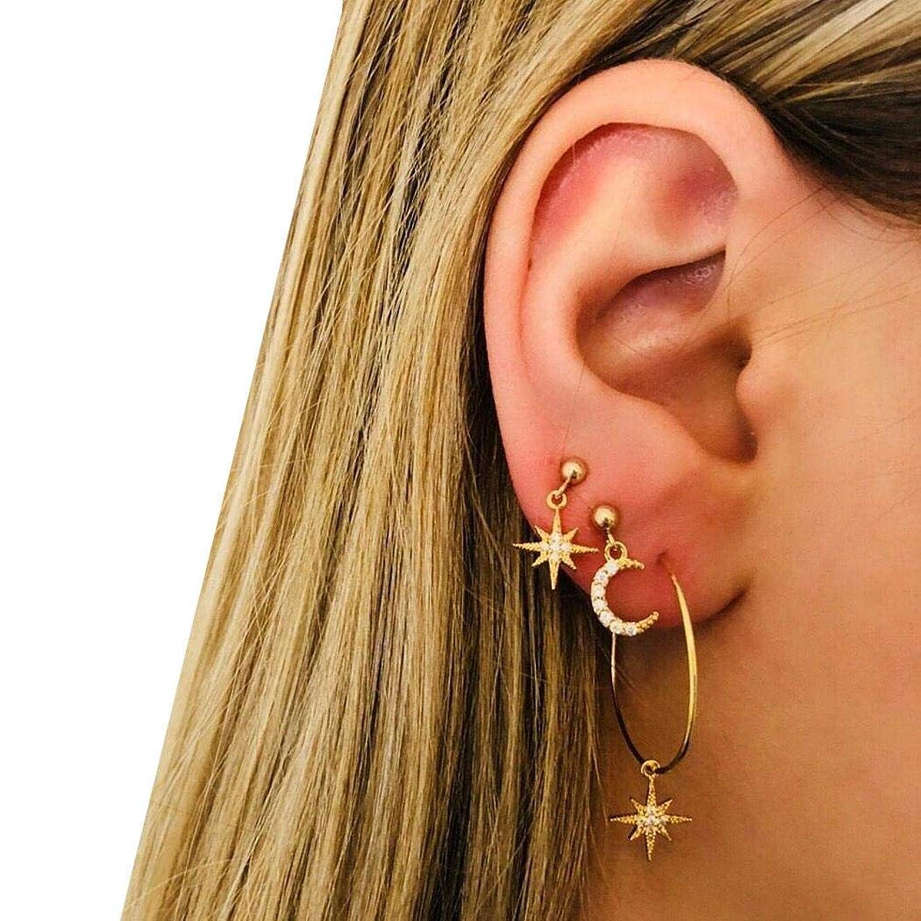 XioNiu Women Fashion Rhinestone Moon Star Stud Earrings Ear Hoop Set Drop & Dangle