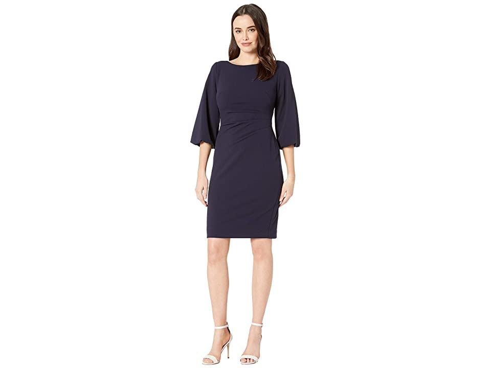 LAUREN Ralph Lauren 130H Luxe Tech Crepe Louisa Elbow Sleeve Day Dress (Lighthouse Navy) Women