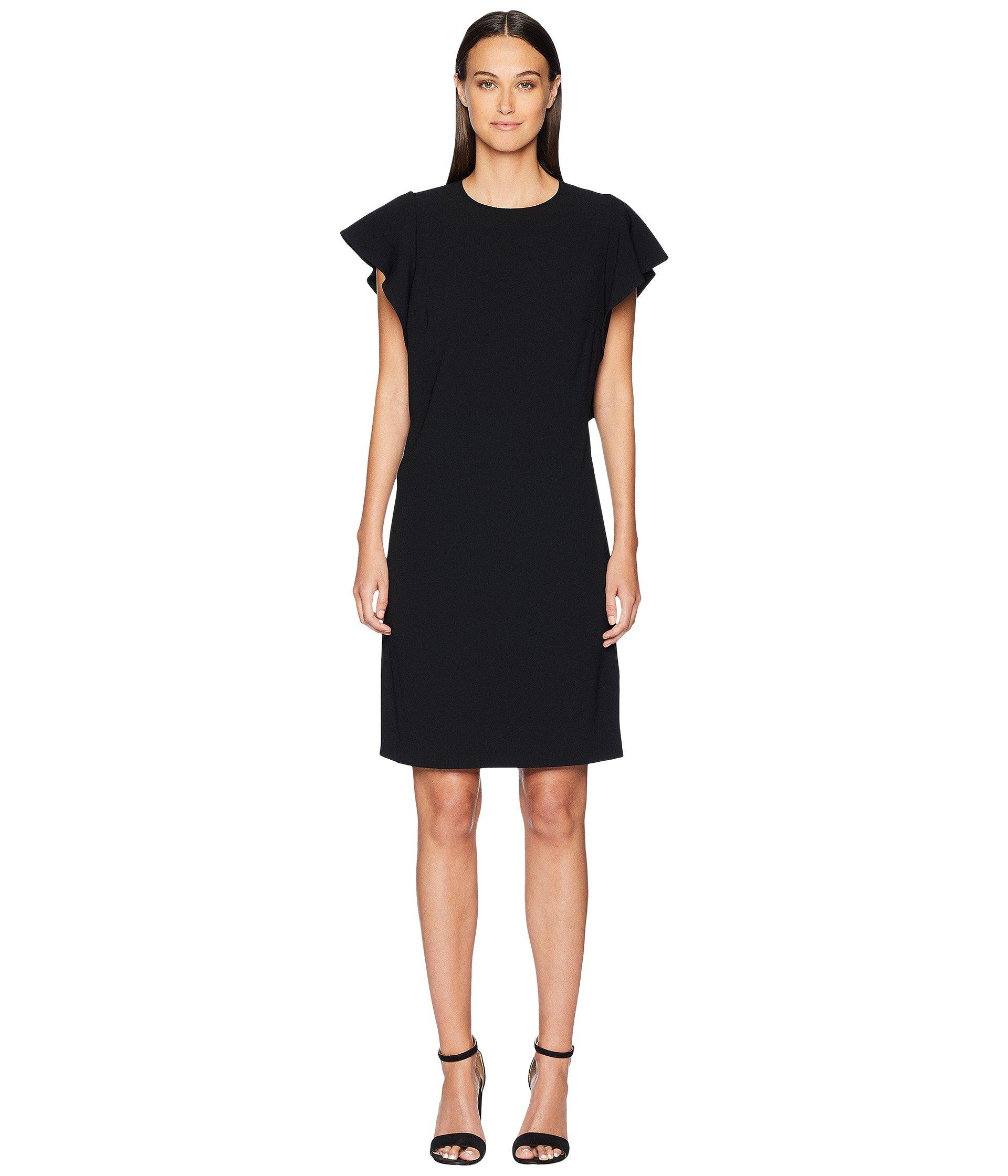 Dress Sleeve Ruffle Short Side Black Diat Escada ZXAq8wnBv