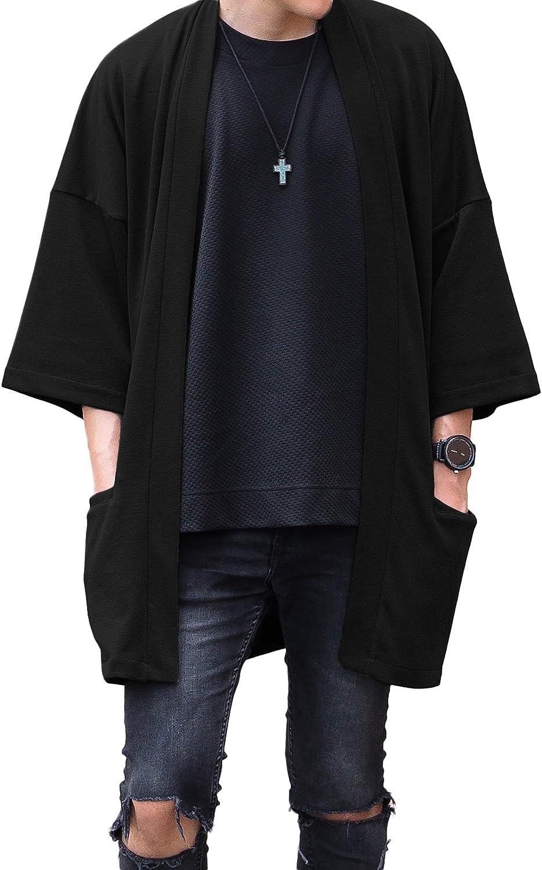 Men's Long Oversized Kimono Cardigan Noragi Japan Jacket Haori Man Yukata Coat