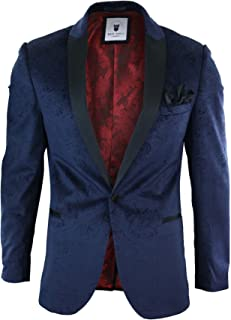 f481152bb15 Marc Darcy Mens Velvet Paisley Blue Black Blazer Tuxedo Dinner Jacket Smart  Casual