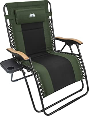 Amazon Com Ever Advanced Oversize Xl Zero Gravity Recliner Padded Patio Lounger Chair With Adjustable Headrest Support 350lbs Green Garden Outdoor