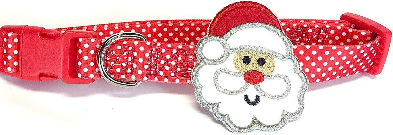 Pet Holiday Polka Dot Santa Christmas Dog Collar Size Small