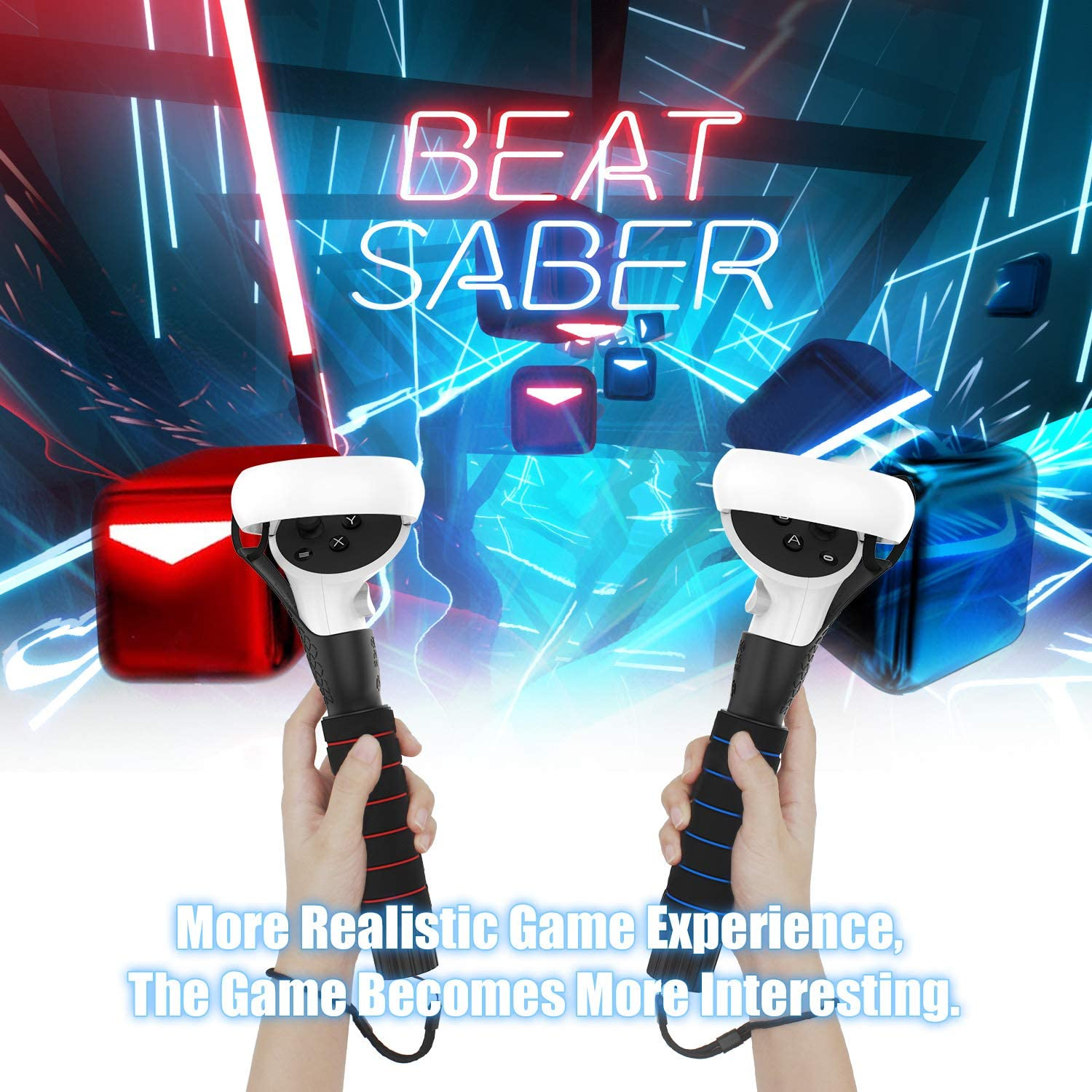 DOOPUU VR Oculus Quest 2 Accessories,Dual Handles Extension Grips for Oculus Quest, Quest 2 Or Rift S Controllers Playing Beat Saber Games, Sturdy,Comfortable to Grip