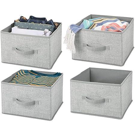 mDesign panier de rangement en tissu (lot de 4) – bac de stockage pratique pour ranger la penderie – corbeille de rangement pour vêtements, couvertures, accessoires et plus – gris