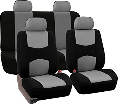 FH Group Universal Fit Full Set Flat Cloth Fabric Car Seat Cover, (Gray/Black) (FH-FB050114, Fit Most Car, Truck, Suv, or Van): image