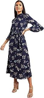 Self Tie Belt Printed Midi Women's Dress with Bell Sleeves