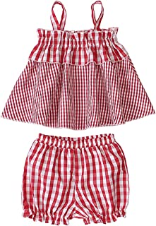 Camidy Kids Baby Girl Set Plaid Sleeveless Top Shirt+Bloomer Short Pants Clothes Suit