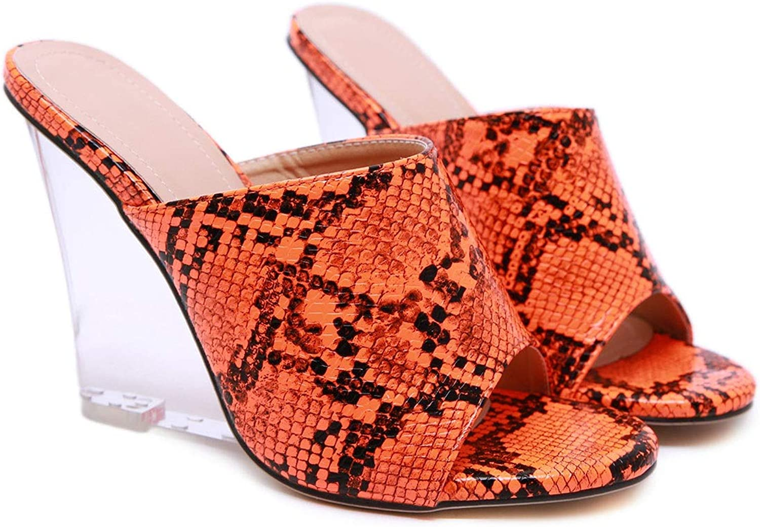 Women's High-Heeled Sandals and Slippers Snake Pattern Sandals Nightclub High Heels (color   orange, Size   6 US)