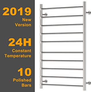 Hromee Wall Mounted Plug-in Straight Towel Warmer Electric Heated Drying Racks for Bathroom Stainless Steel 10 Bars Polished 100 Watt 20.7 Inch x 33.5 Inch