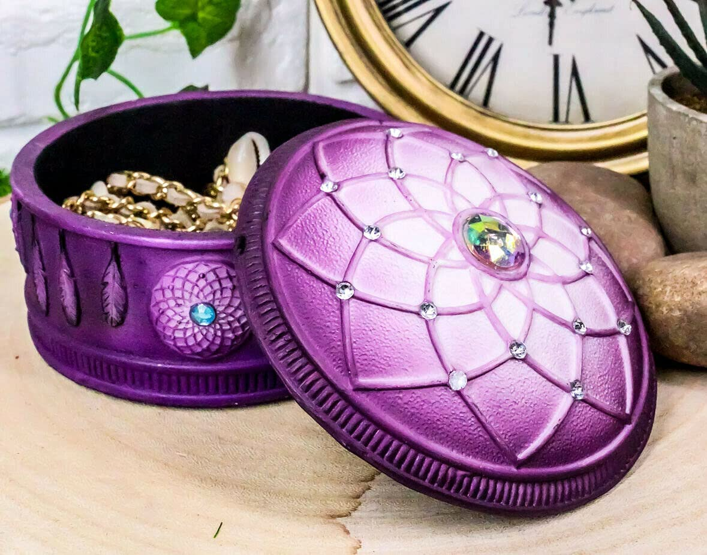 shop Purple Boho Flower Web Feathers sold out Box Decorative Jewelry - Favorit