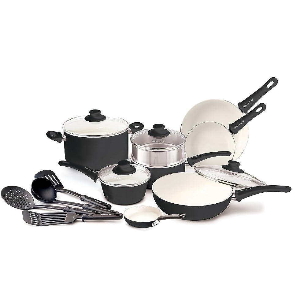 GreenLife Soft Grip 16pc Ceramic Non-Stick Cookware Set, Black m347044820