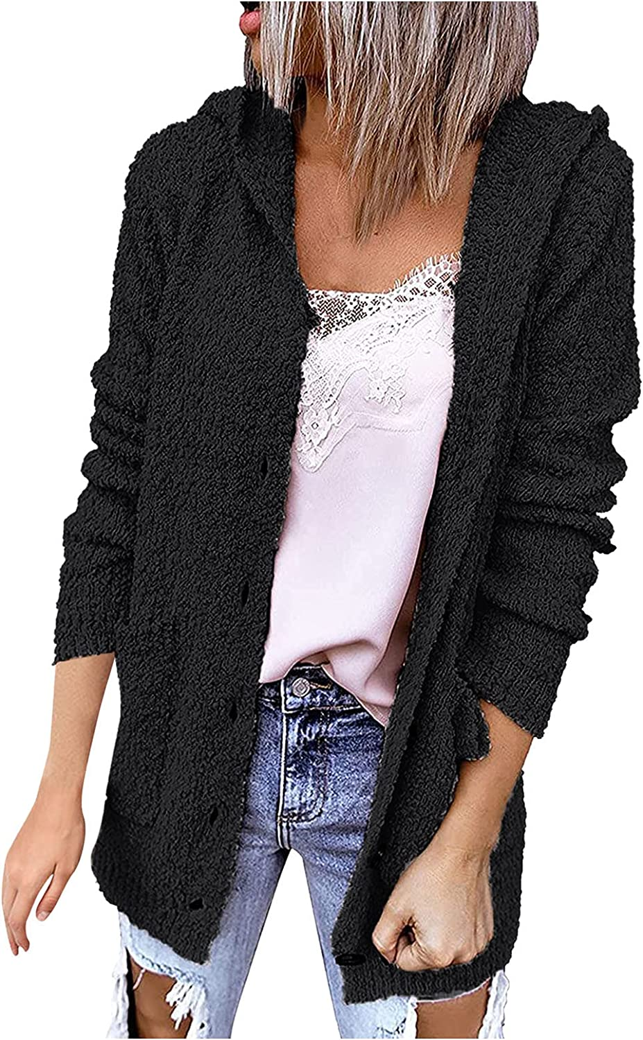 Womens Open Front Fuzzy Cardigan Sweaters Long Sleeve Popcorn Jacket Lightweight Oversized Loose Knit Sweater with Pockets