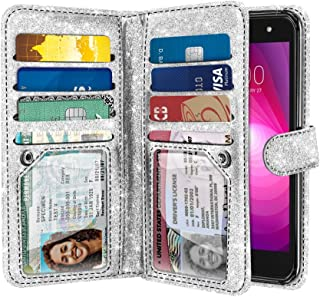 NEXTKIN Case Compatible with LG X Power 2 LV7, Shiny Sparkling Bling Glitter Dual Wallet TPU Cover, 2 Pockets Double flap, Multi Card Slots Button Strap For LG X Power 2 LV7 M320 5.5 inch - Silver