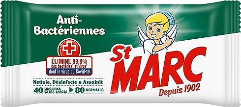 St Marc Lingettes Nettoyantes Désinfectantes et Antibactériennes - 40 Lingettes Extra-Larges