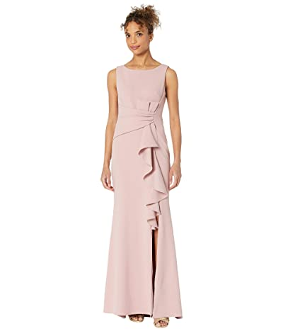 Betsy & Adam Long Boatneck Crepe Gown