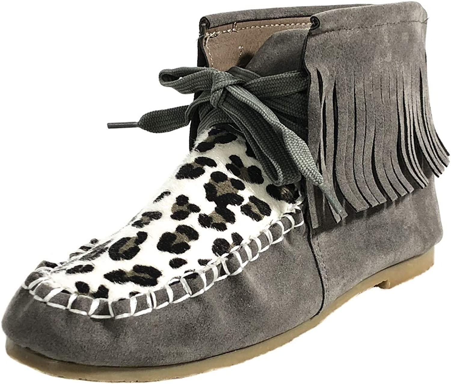 MONOBLANKS Women Leopard Boots with Tassel,Women Fashion Casual Short Boots
