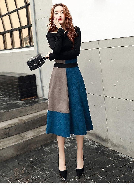 LDQ Autumn Original Dress Women Fashion Suit Skirt Trend Long Sleeves Two Sets of Women,Black bluee,XL