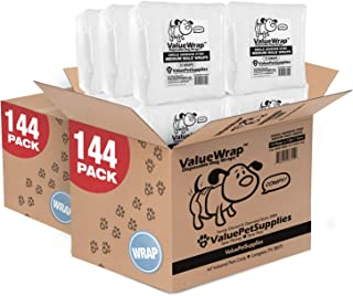 ValueWrap Disposable Male Dog Diapers, 1-Tab, 288 Count - Absorbent Male Wraps for Incontinence, Excitable Urination & Travel, Fur-Friendly Fasteners, Leak Protection, Wetness Indicator