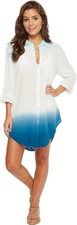 Dip-Dyed Crinkle Gauze Big Sur Boyfriend Shirt