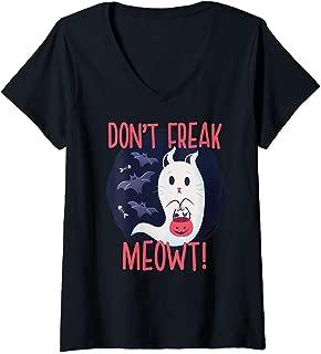 Womens DON'T FREAK MEOWT! Paranormal Halloween Cat Meme Gift V-Neck T-Shirt