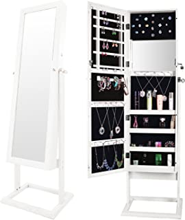 Bonnlo Jewelry Armoire Cabinet Stable Square Freestanding, 4 Adjustable Angle Tilting, Lockable Heavy Duty Bedroom Makeup Mirror Organizer Closet,Well Packed by styro-Foam&Stiffer Covering