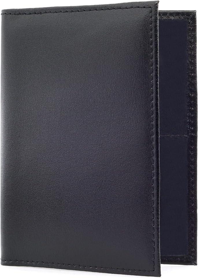 NEU - ECHT Leder Fahrzeugschein Hülle Ausweishülle Zulassungsschein Führerschein Hülle Ausweismappe Mappe Schwarz mit 5 Fächern (Schwarz)