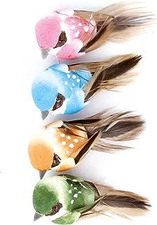 Artemio 13001026 4 Oiseaux avec Fil métal 4cm, Mousseline, Multicolore, 7 x 1,5 x 13,5 cm