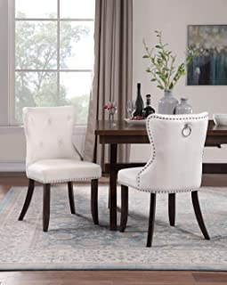 Harper&Bright Designs Dining Chair Tufted Armless Chair UpholsteredAccent Chair, Set of 2 (Beige)