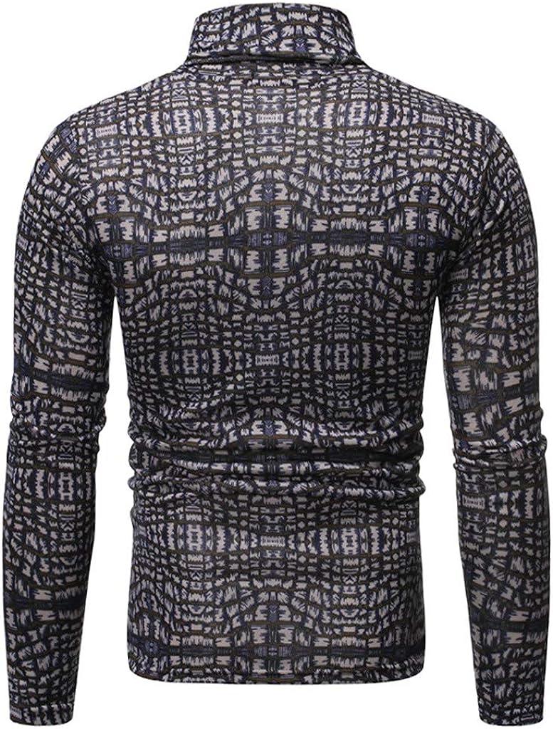 iHAZA Homme Pull /à Col Roul/é Chaud Pull en Maille Uni Jumper Manches Longues Chandails Casual Sweatshirt Slim Fit