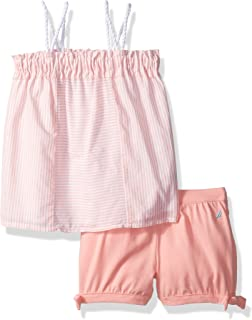 Nautica Baby Girls' Striped Top with Fashion Short Set