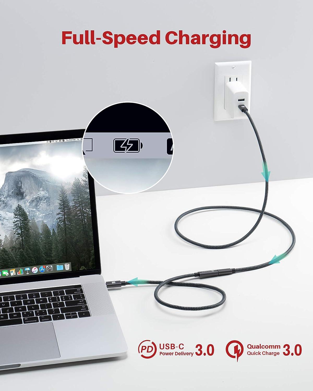 1m iVANKY C/âble dextension Type C m/âle /à Femelle Thunderbolt 3 Compatible Supporte Chargement//synchronisation//vid/éo 4K pour Macbook Pro 2017 Samsung S10 S9 Huawei Mate 20 P20 Pro Rallonge USB C